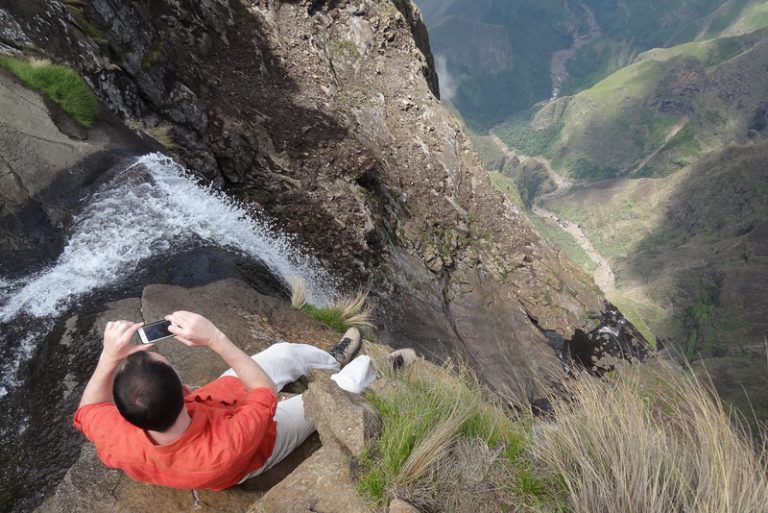 on the edge of tugela falls